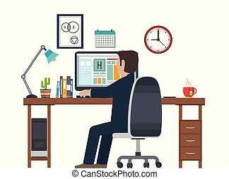 Designer in the workplace, workstation. Creative equipment in office interior.