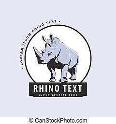 Designer logo with rhinoceros on a blue background