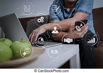 Business process management with workflow automation diagram and gears in virtual flowchart. designer man hand using laptop compter and mobile payments online shopping.