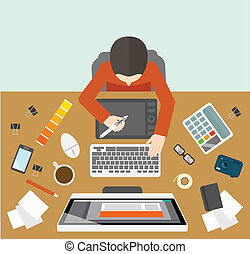 Office business designer management workplace with male on the computer vector illustration
