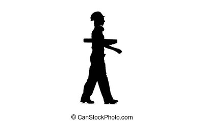 Designer of the construction site carries a drawing....