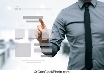 designer presenting website development wireframe