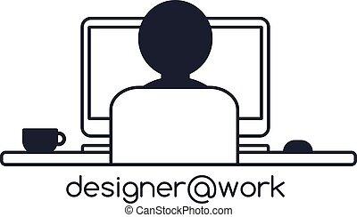 designer programmer computer theme vector art illustration