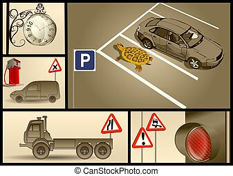 designer set for car parking