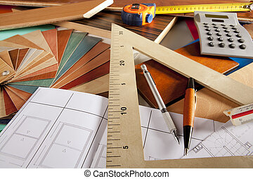 designer, snickare, arkitekt, workplace, heminredning