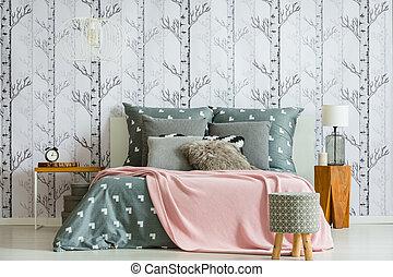 Designer stool in bedroom