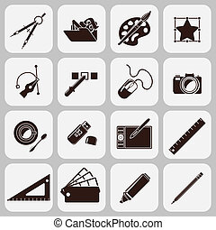 Graphic designer studio tools creative process black icons set isolated vector illustration