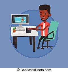 Designer using digital graphics tablet.