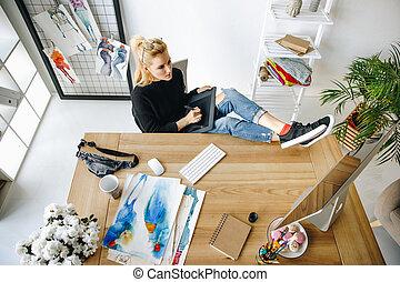 designer using graphic tablet