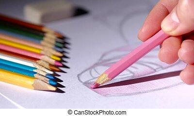Designer women's shoes fashion shoes sketch paints pink. ...