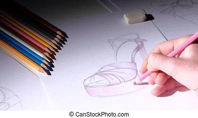 Designer women's shoes fashion shoes sketch paints pink....