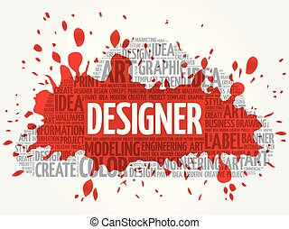 DESIGNER word cloud, creative concept - DESIGNER word cloud,...