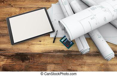 designer working tools - blueprints, calculator and tablet...
