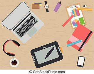Designer Workplace. Flat design. illustration.