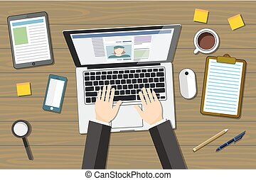 Designer workplace flat with top view woman at table and design gadgets vector illustration