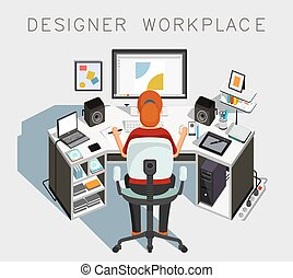 Designer workplace. Gaphic designer at work. Vector illustration
