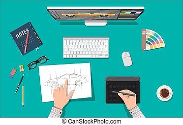 Designer workplace. Illustrator desktop with tools