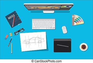Designer workplace. Illustrator desktop with tools. Desktop...