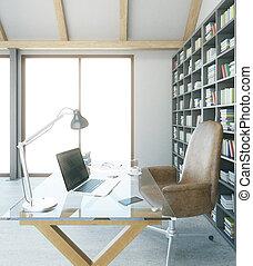 Designer workplace in interior