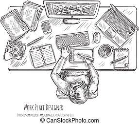 Designer Workplace Sketch