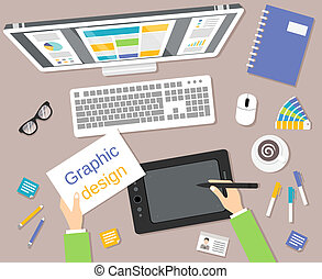 Graphic designer studio tools workplace top view with monitor and tablet vector illustration