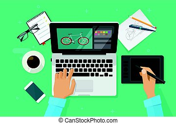 Designer workplace vector illustration top view, person...