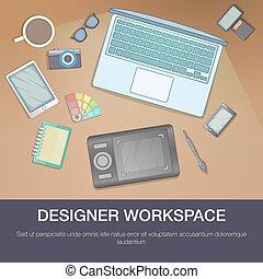 Designer workspace concept, cartoon style