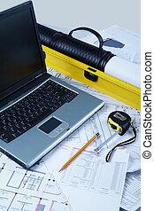 Designer workspace - Vertical image of modern designer...