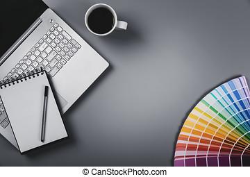 designeren, arbejdspladsen, hos, farve palette, og, laptop., top udsigt, hos, kopi space