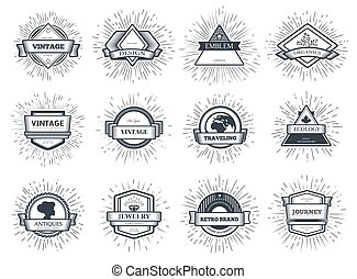 Designers collection of vector sunburst. Set for vintage design project. Style elements graphic template