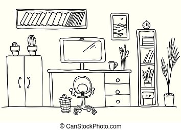 Designer's desk at home office, work space. Computer, office interior. Black and white