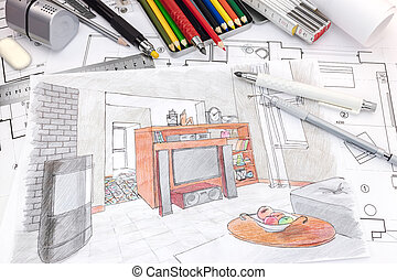 designers drawing tools on colored sketch of a living room