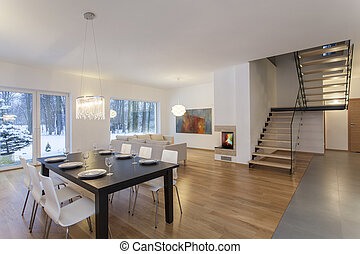 Designers interior - dining room in modern minimalistic house