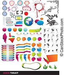 designer's, kit strumenti, vettore, elementi