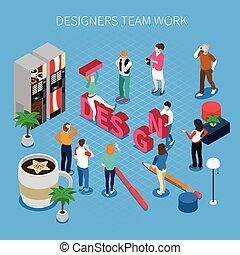 Designers teamwork Isometric Concept