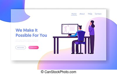 Designers Testing 3d Printer in Science Laboratory Website Landing Page. Developers Looking on Pc Screen with Process of Creation Prototype Figure Web Page Banner. Cartoon Flat Vector Illustration
