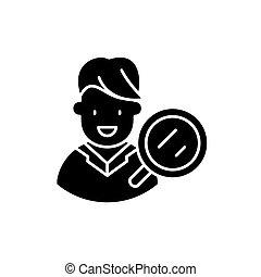 designi bersaglio pubblico, ricerca, nero, icona, vettore, segno, su, isolato, fondo., designi bersaglio pubblico, ricerca, concetto, simbolo, illustrazione