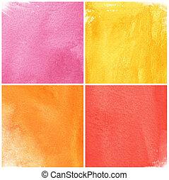 design.painting, originals, coloré, aquarelle, papier, fond, mon, ton