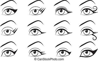 designs., eyeline, ensemble, maquillage