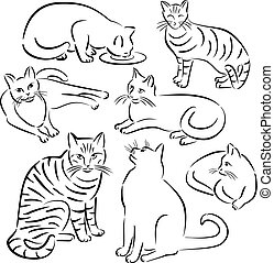 designs-set, ligne, 3, chat