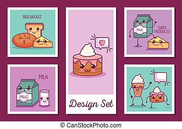 designs set of breakfast icons kawaii style