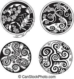 designs., vector, set, ronde, spiraal