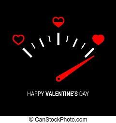 design.vector, ilustração, amor, velocímetro, medidor, coração