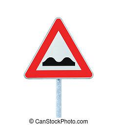 desigual, muestra del camino, con, poste, aislado, blanco