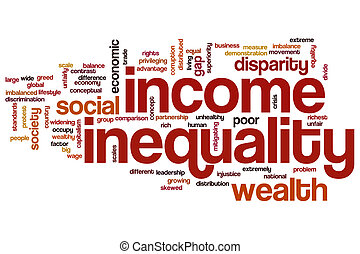 desigualdade, palavra, nuvem, renda
