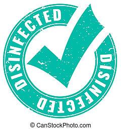 desinfectado, grunge, emblema