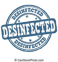 Desinfected sign or stamp