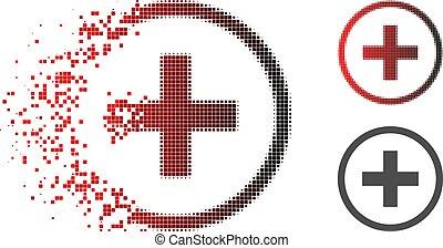 desintegração, pixelated, halftone, adicionar, ícone