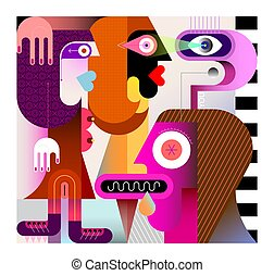 A man lustfully looks at two beautiful sexy women. Modern art vector illustration.