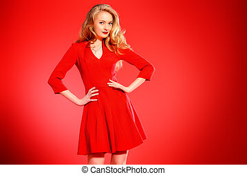 desire - Charming smiling young woman in red dress and with ...